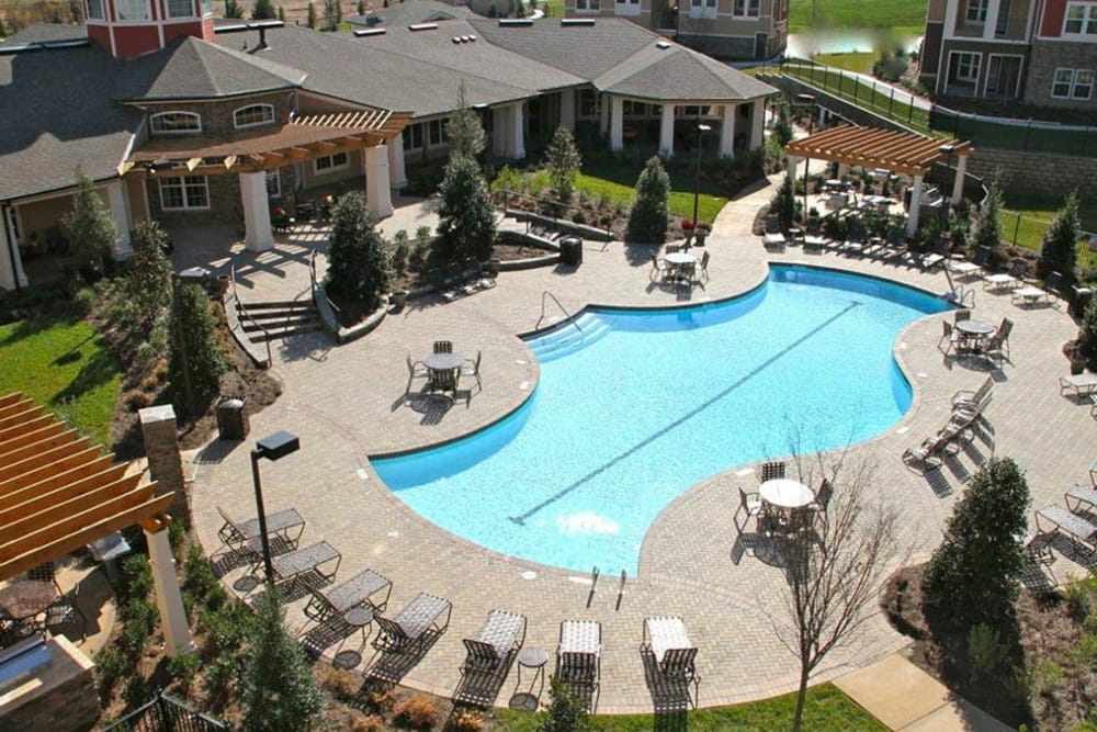 Overview of pool area at Integra Hills Apartment Homes in Ooltewah, TN
