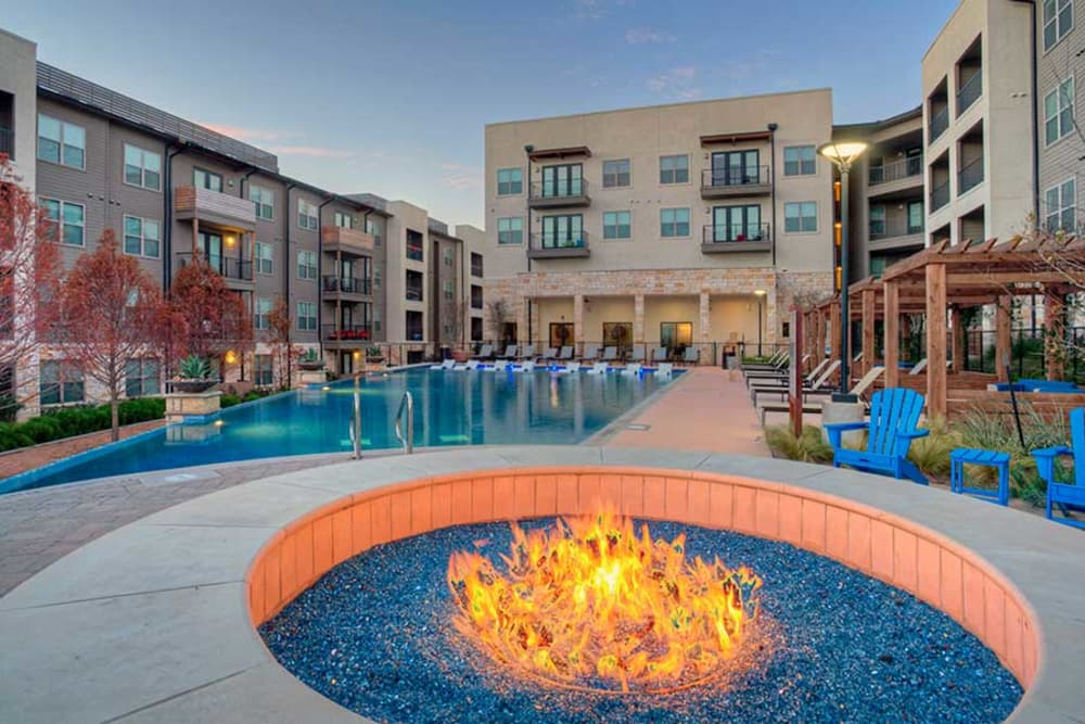 Fire pit at Axis at The Rim in San Antonio, Texas