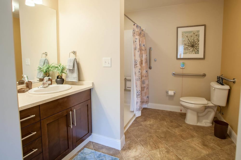 Bathroom layout at Lakewood Memory Care in Lakewood, Colorado