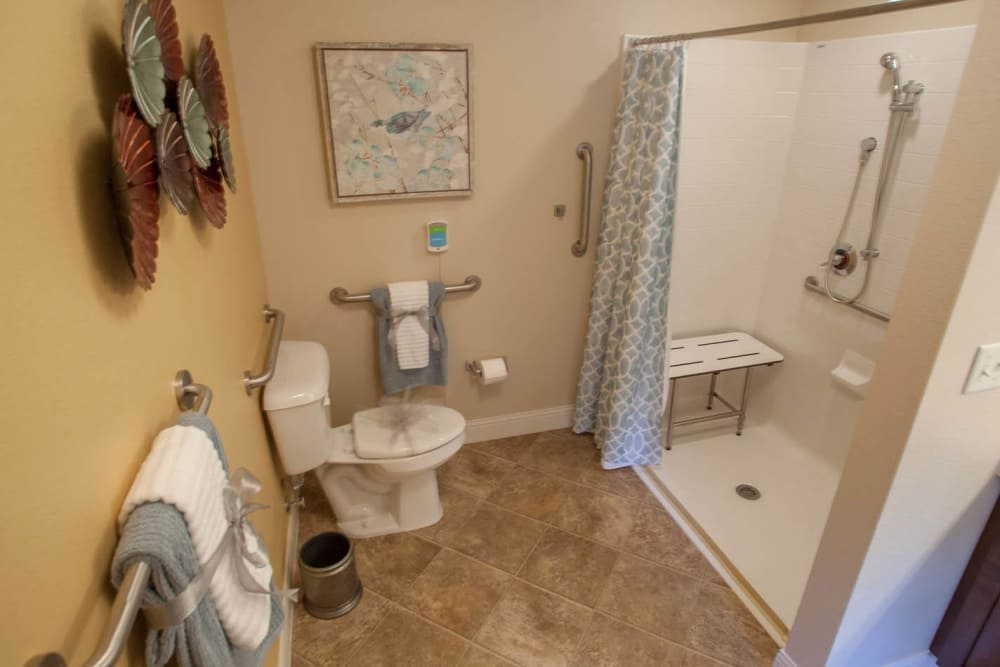 Bathroom model layout at Lakewood Memory Care in Lakewood, Colorado