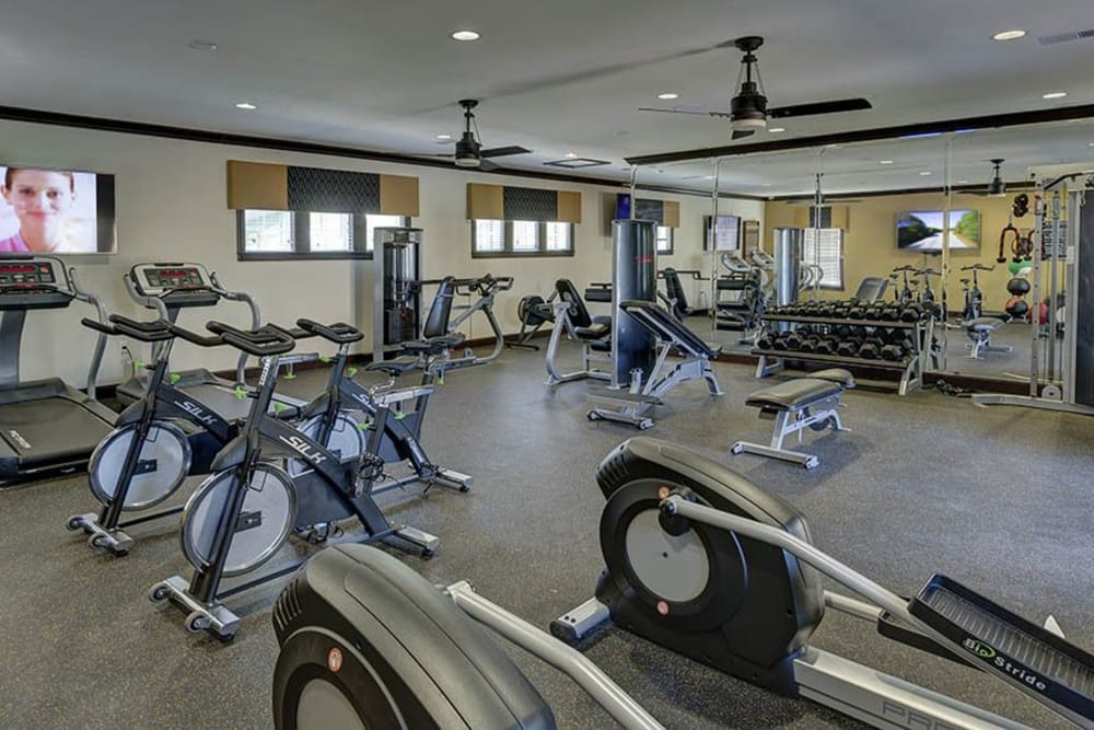 Exercise equipment at Integra Hills Preserve Apartments in Ooltewah, TN