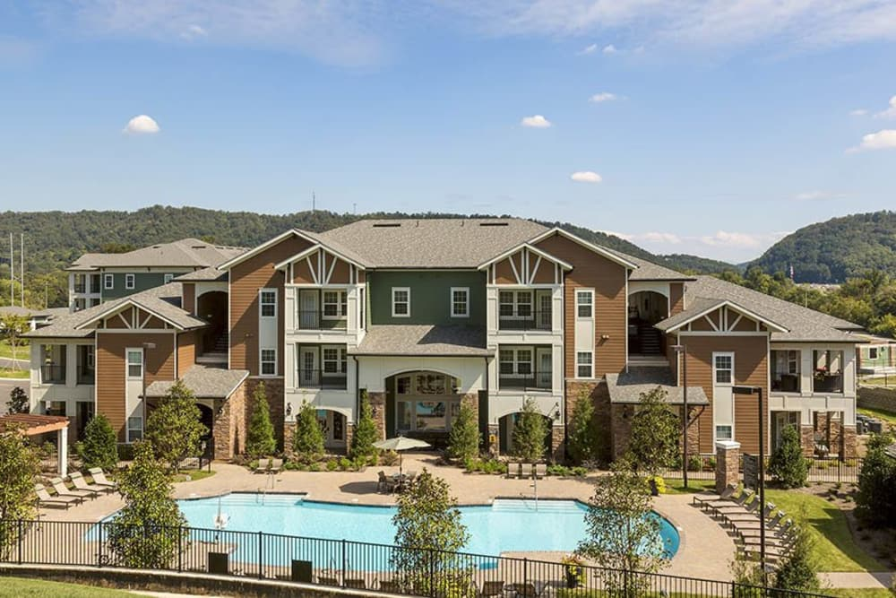 Overview of the pool at Integra Hills Preserve Apartments in Ooltewah, TN