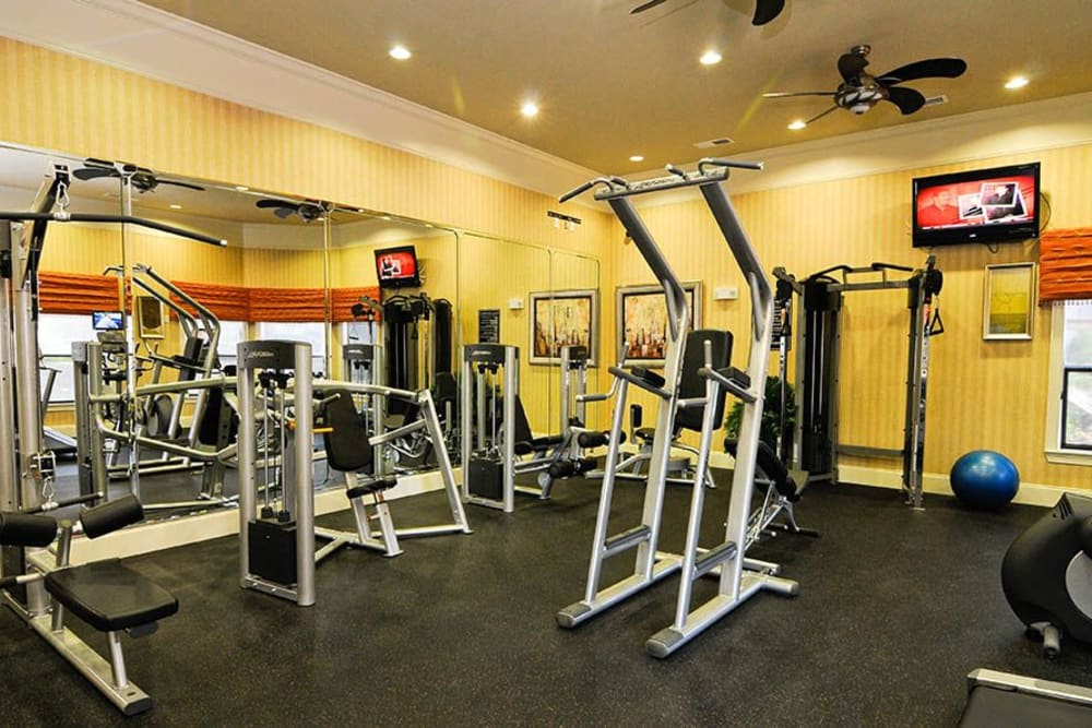 Fitness center at Villas at Houston Levee East Apartments in Cordova, TN
