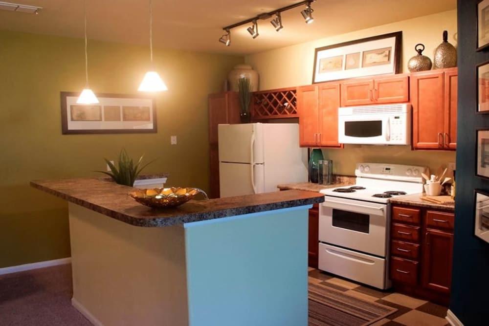 Kitchen island at Huntsville Parc Apartment Homes in Huntsville, AL