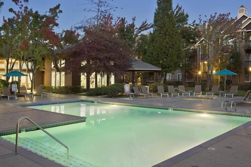 Resort-style swimming pool at Cortland Village Apartment Homes in Hillsboro, Oregon