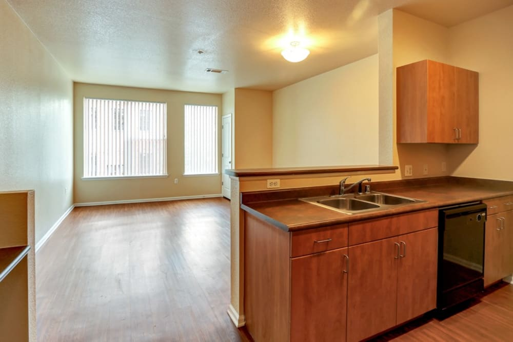 Kitchen & Living Room at Diamond at Prospect Apartments in Denver, Colorado