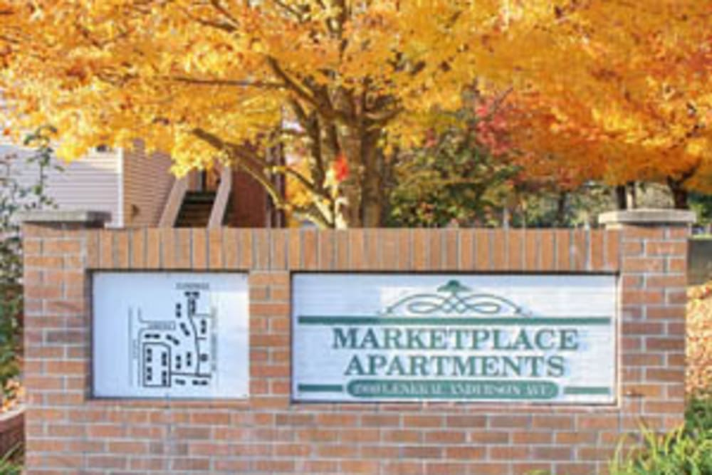 Entry Sign at Marketplace Apartments in Vancouver, Washington