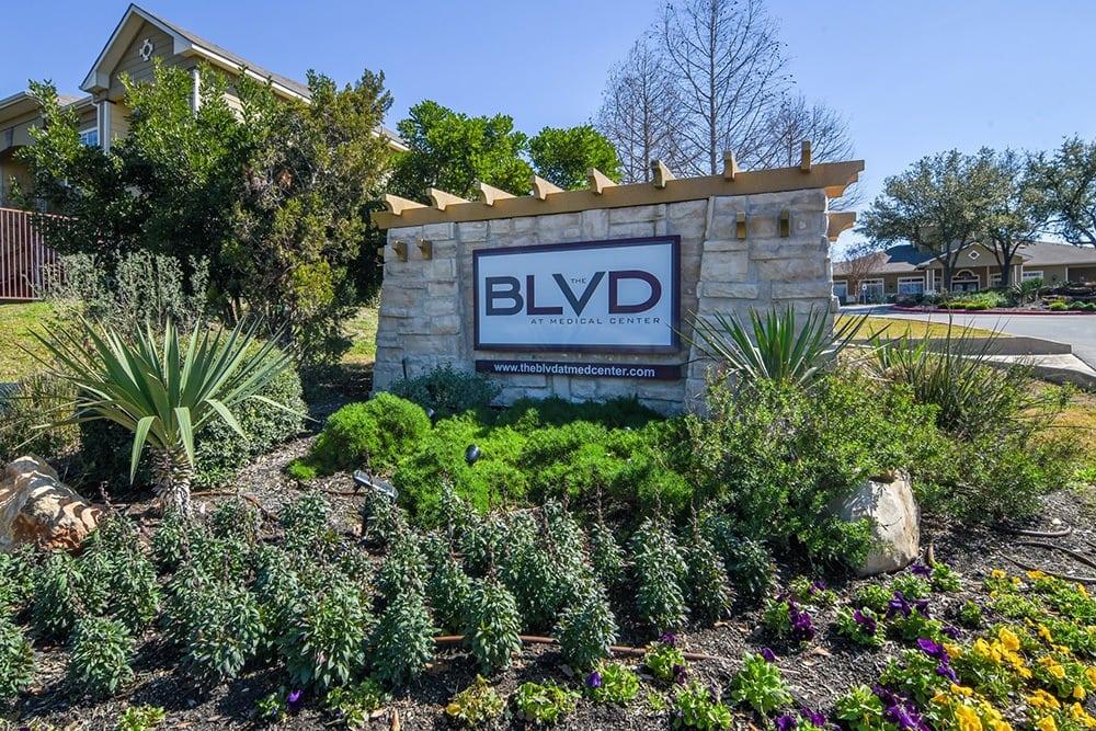 Main sign at The BLVD at Medical Center Apartments in San Antonio, TX