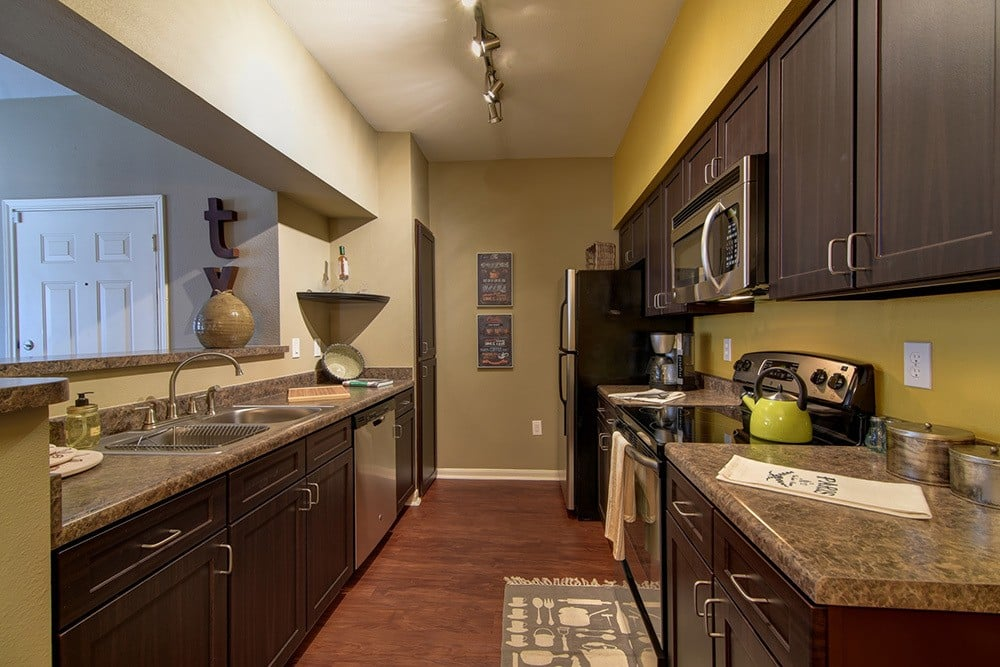Model kitchen at The BLVD at Medical Center Apartments