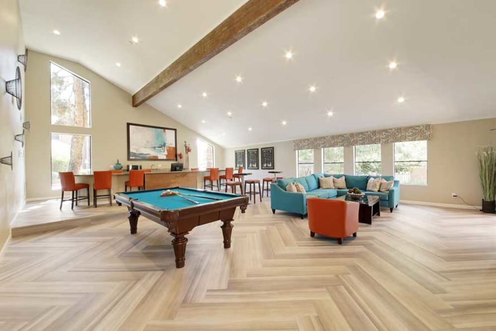 Clubhouse with a Pool Table at Renaissance Apartment Homes in Phoenix, Arizona