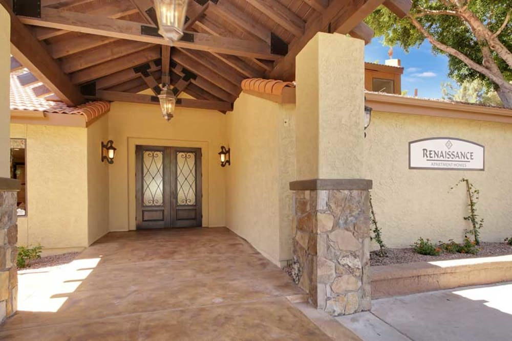 Entrance of the Leasing Office at Renaissance Apartment Homes in Phoenix, AZ