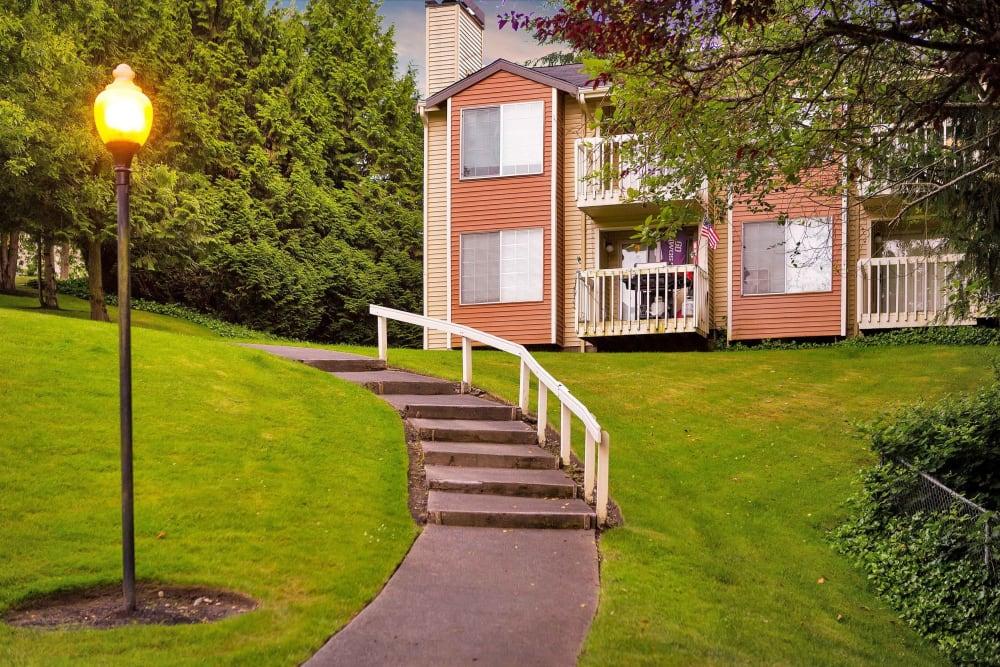 Exterior of Maple Glen Apartments in Mountlake Terrace, WA