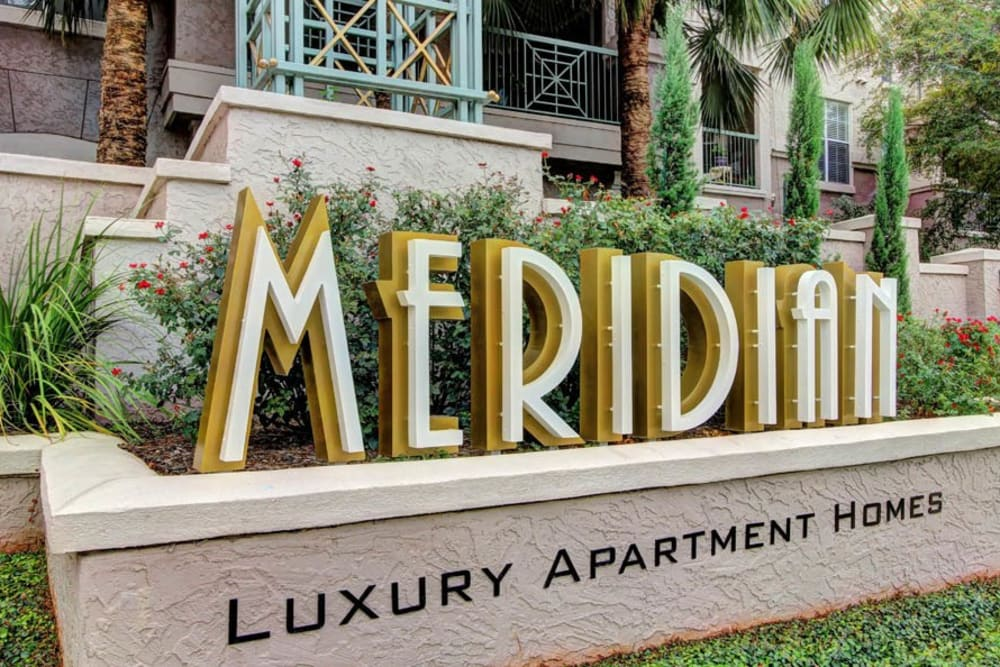 Entry Sign at Meridian Apartments in San Antonio, Texas