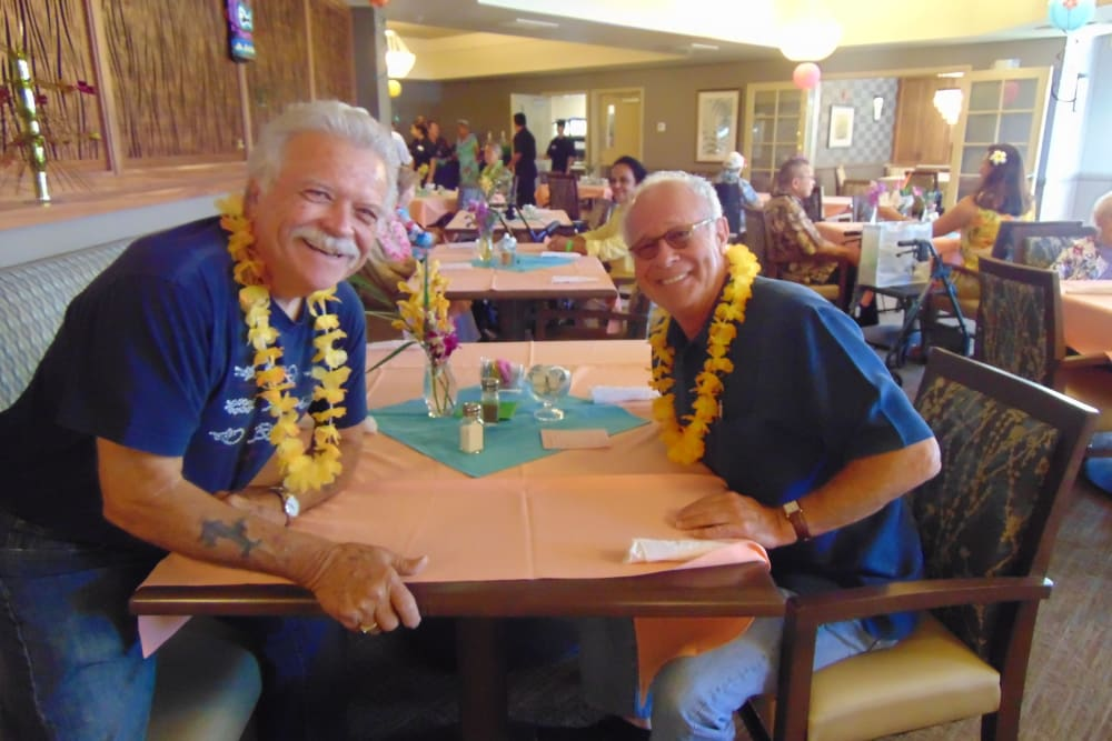 Luau party, residents enjoying time together at Oceanside, CA