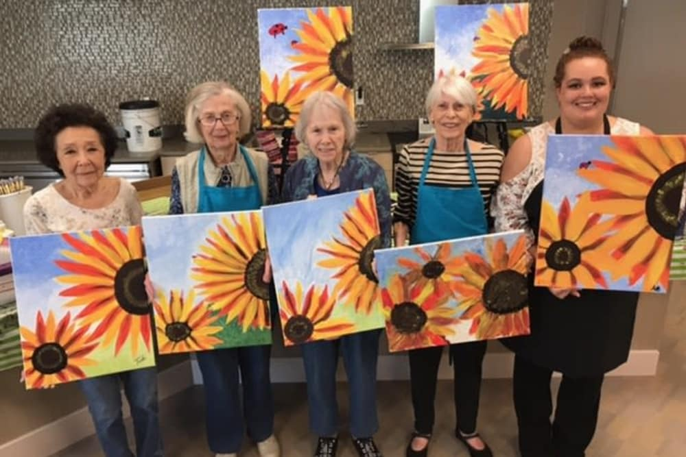 Sunflower painting class at Merrill Gardens at Monterey in Monterey, California.