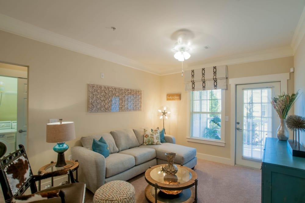 Spacious living room at Panther Riverside Parc Apartments in Atlanta, GA