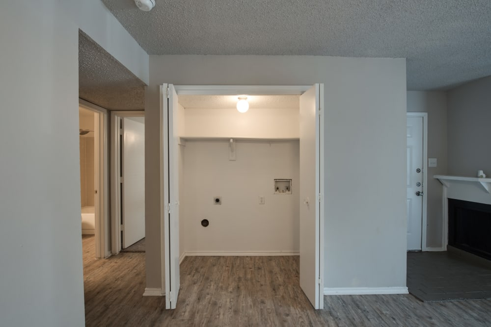 Closet for Washer and Dryer in Wooded Creek Apartments