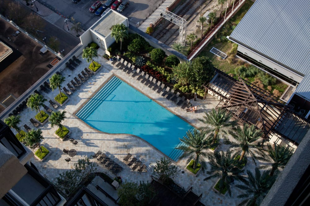Aerial View of 55 West Apartments Swimming Pool