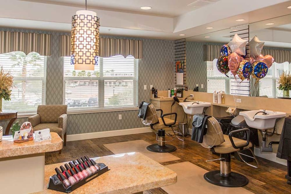 A beauty salon and barber shop on-site at Park Wood Retirement Community