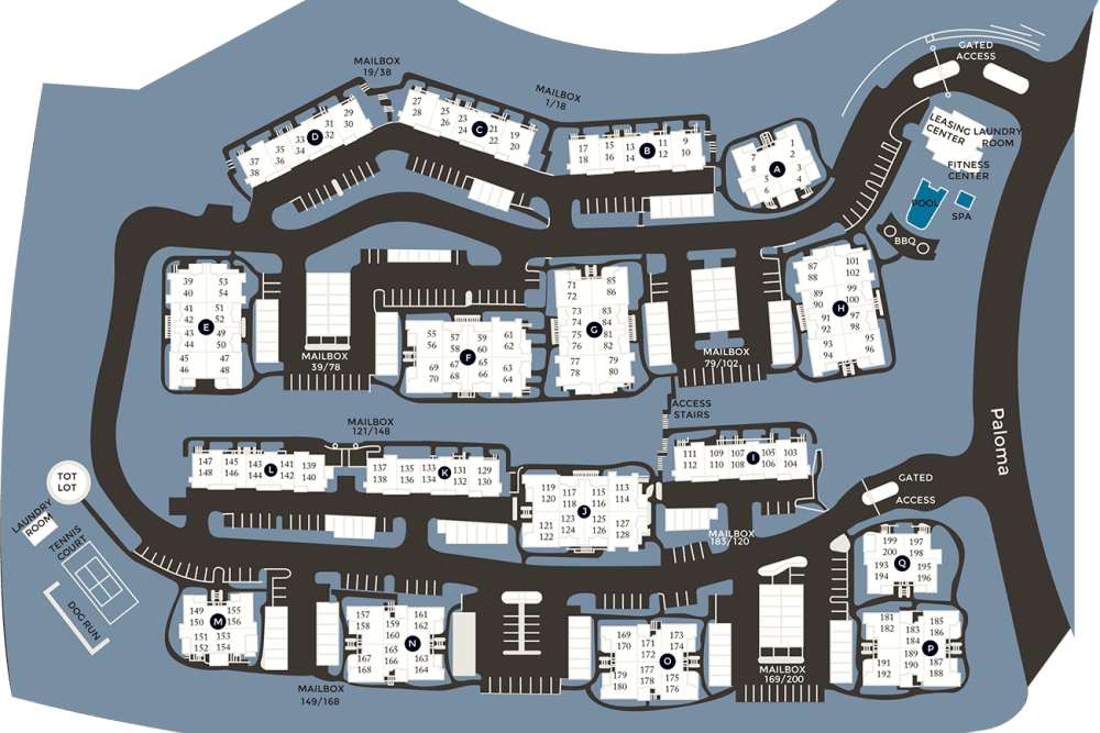 Community site map for Paloma Summit Condominium Rentals in Foothill Ranch, California