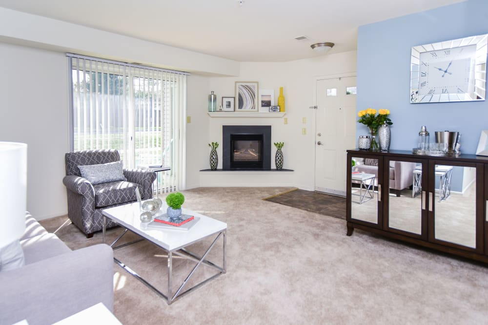 Abrams Run Apartment Homes offers a beautiful living room in King of Prussia, PA