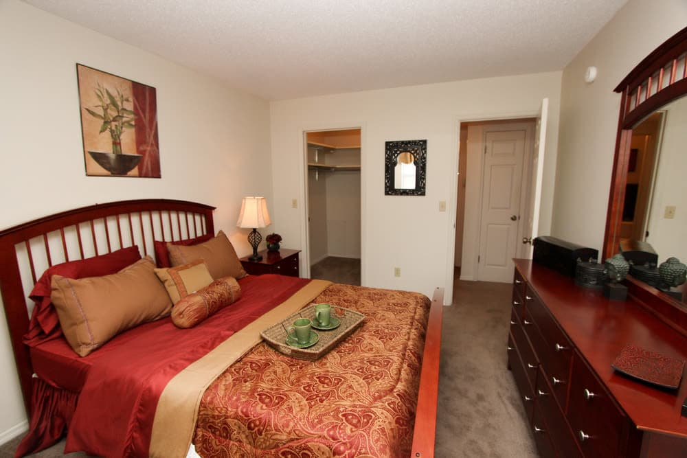 Village Green offers a cozy bedroom in Evansville, Indiana