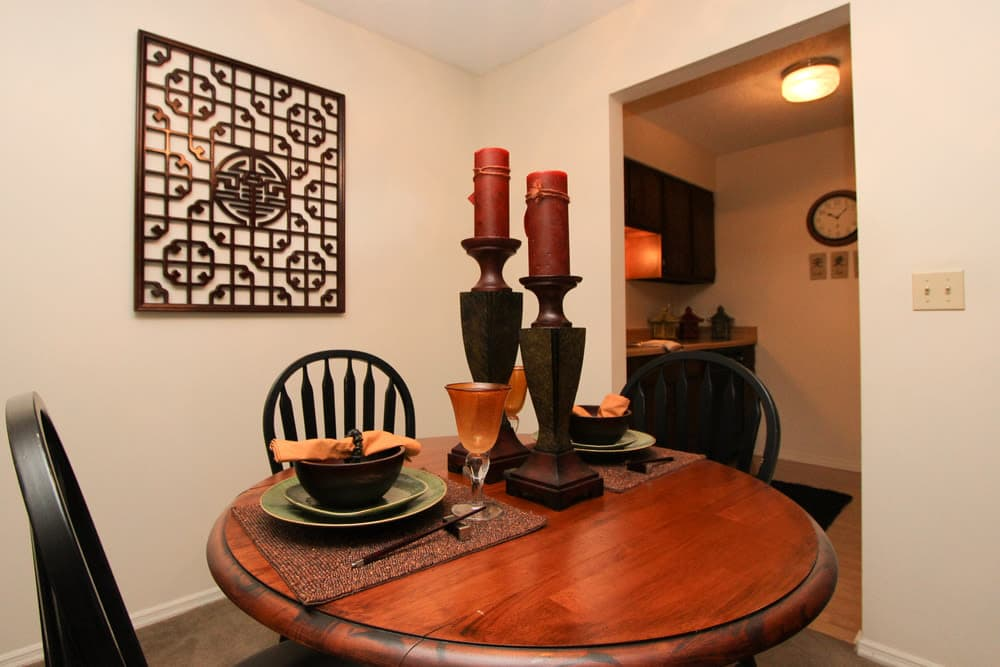 Dining Area at Village Green Apartments in Evansville, IN