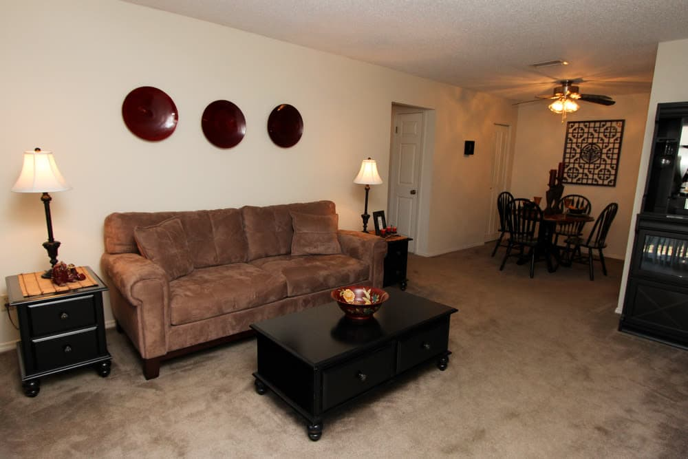 Spacious living room at Village Green in Evansville, Indiana