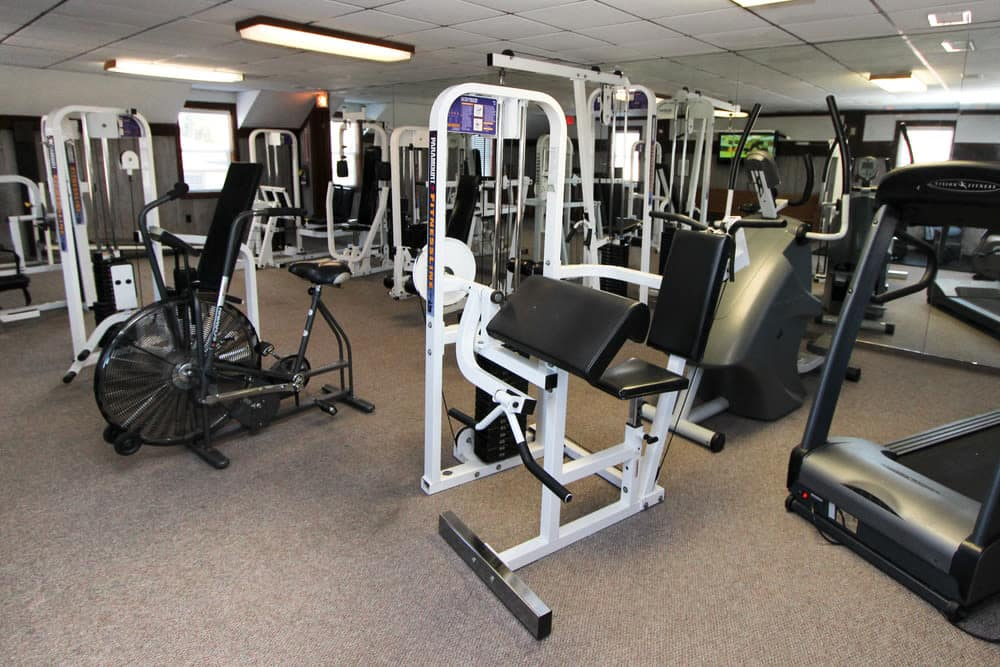 Modern fitness center at apartments in Evansville, Indiana