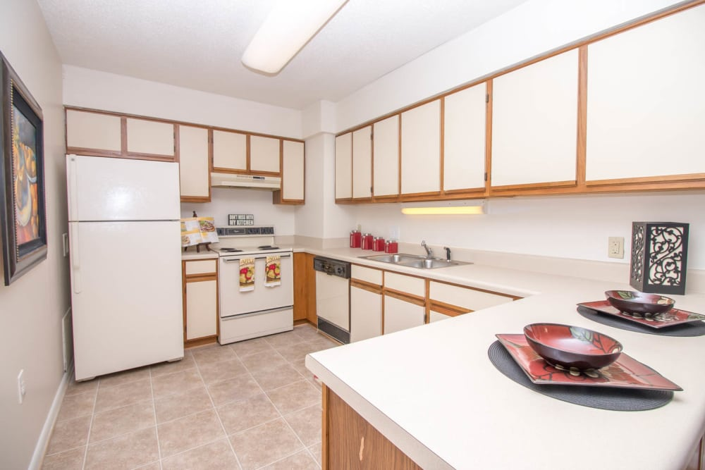 River Park Tower Apartment Homes offers a kitchen in Newport News, VA