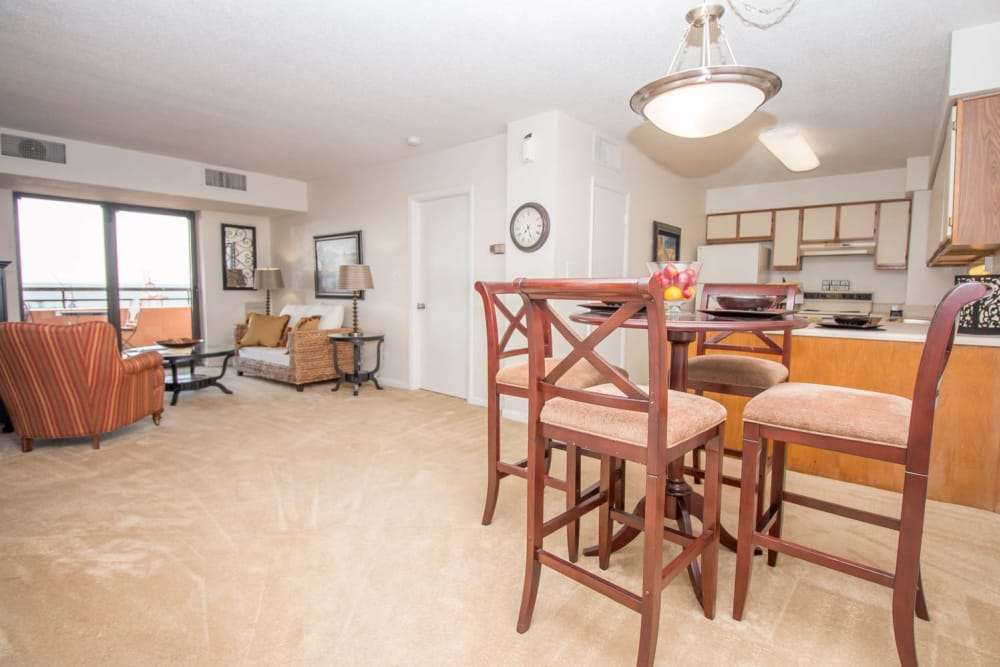 Naturally well-lit interior at River Park Tower Apartment Homes in Newport News, VA