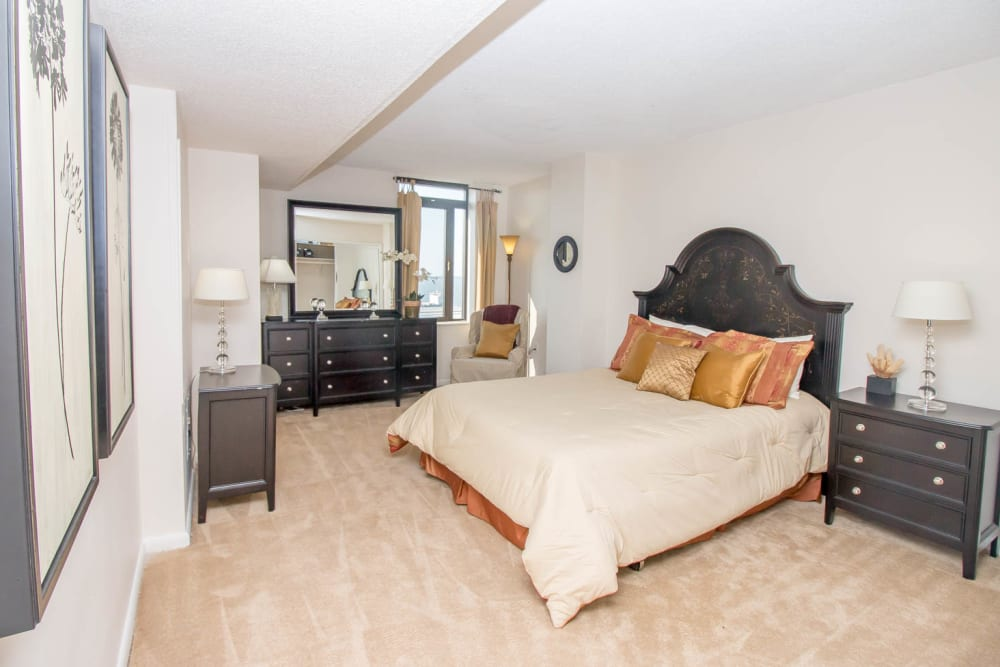 River Park Tower Apartment Homes offers a spacious bedroom in Newport News, VA