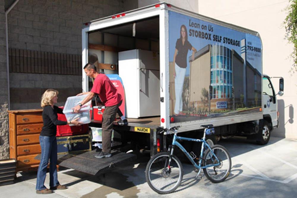 Moving trucks for rent at STORBOX Self Storage in Pasadena, California