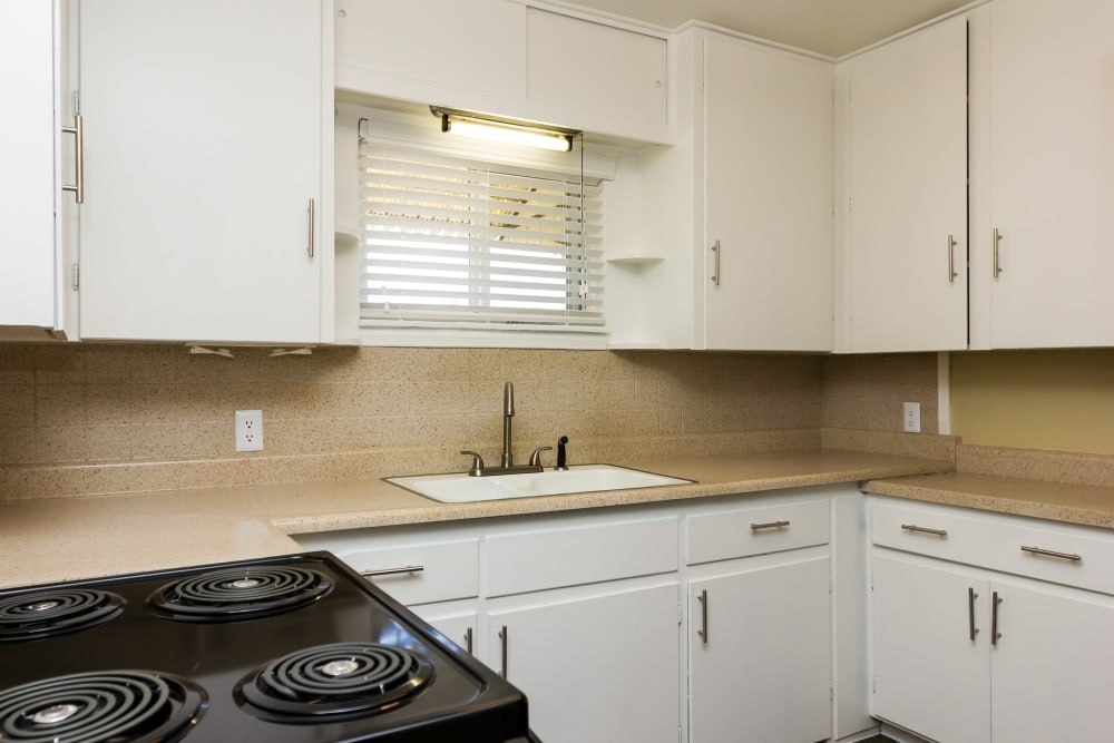 Beautiful kitchen at Lamar Station Apartments in Lakewood, Colorado