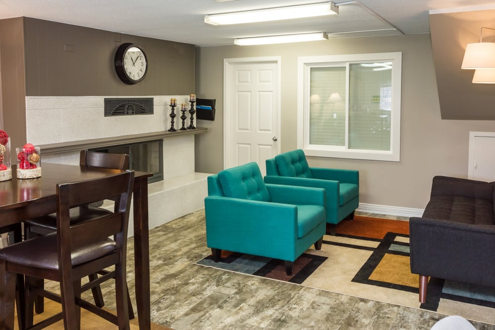 Dnning room and living room at Lamar Station Apartments in Lakewood, CO