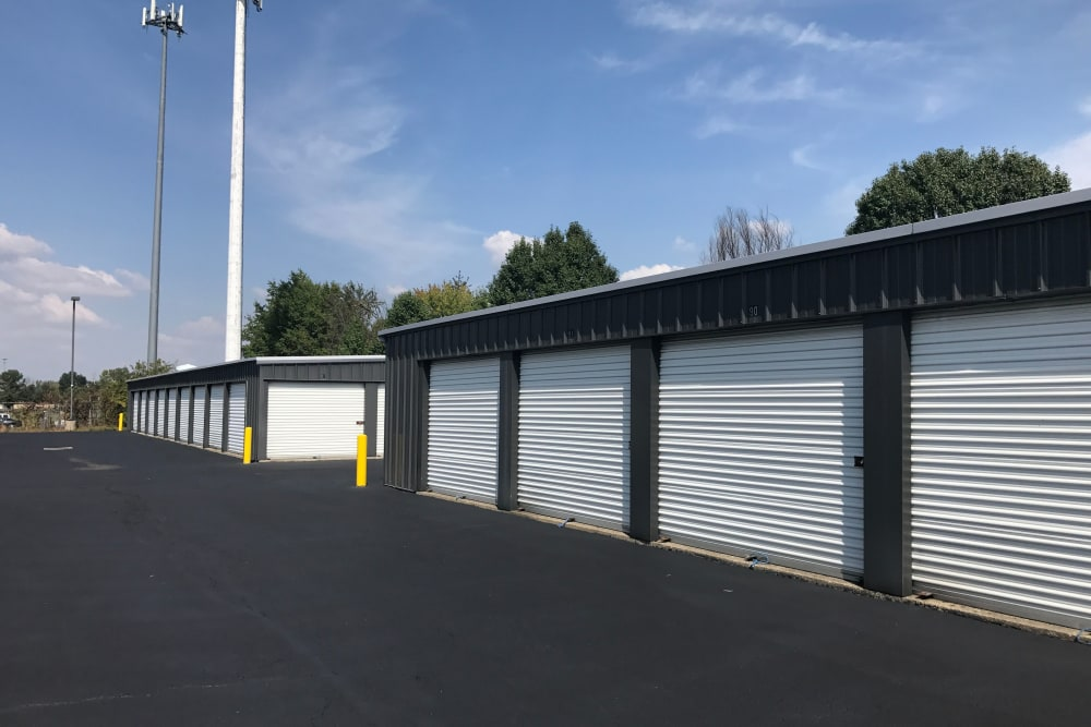 Exterior view of self storage units at Green Meadows Self Storage
