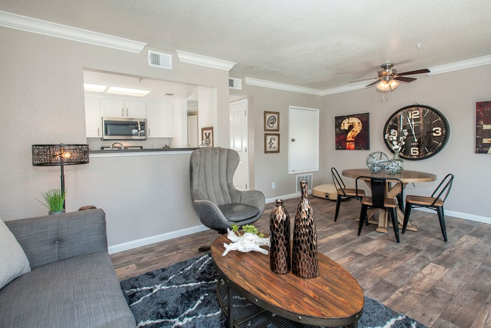 Living room with modern decor at Sandpiper Village Apartment Homes in Vacaville, California