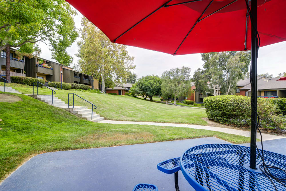 Beautiful well maintained grounds surround the resident buildings at Presidio at Rancho Del Oro in Oceanside