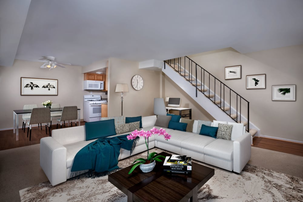 Renovated living room at apartments in Washington, District of Columbia