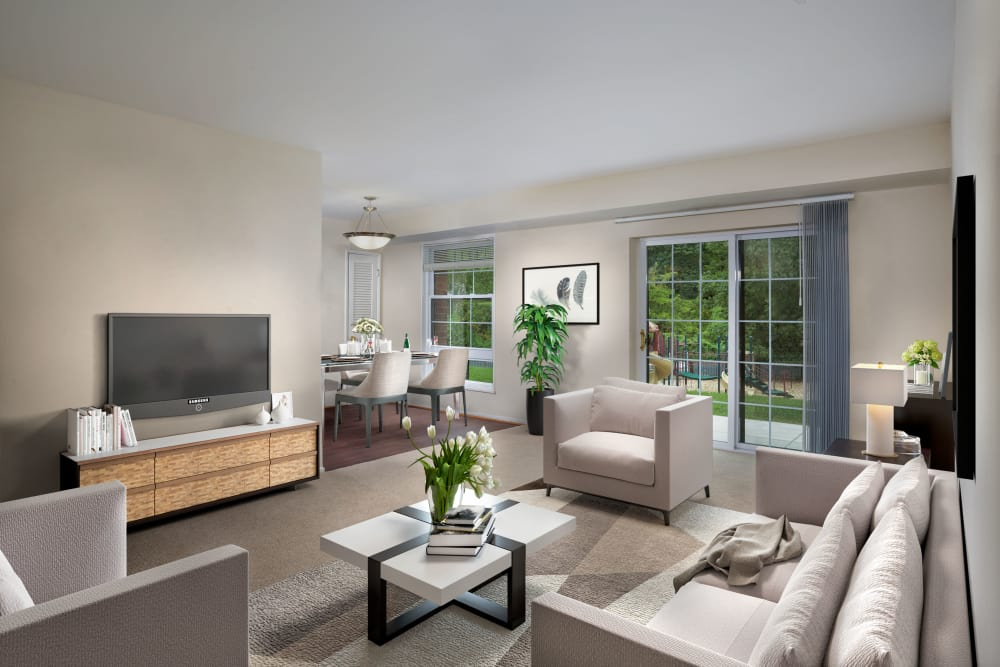 Modern TV area at apartments in Washington, District of Columbia