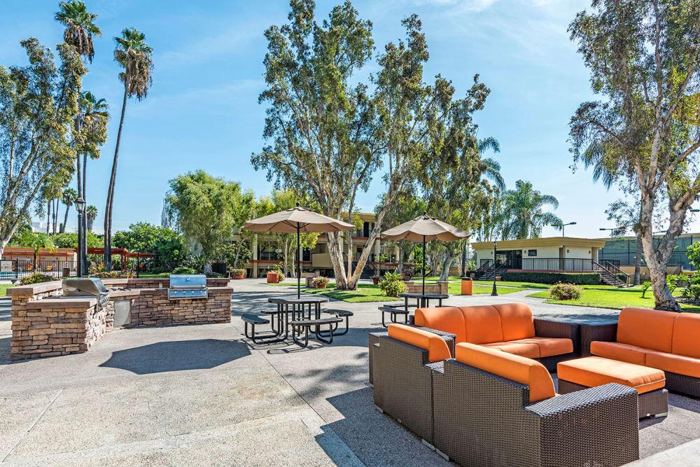 Outdoor Fireplace At Apartments In Garden Grove California