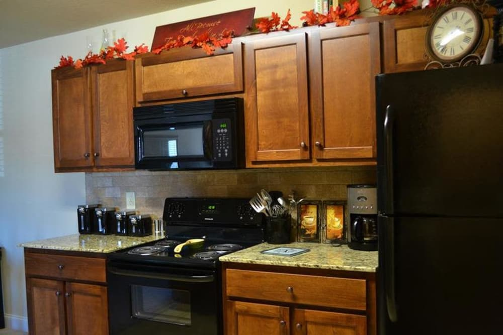 Black appliances and chestnut-stained cabinets at The Grove at Stone Park.
