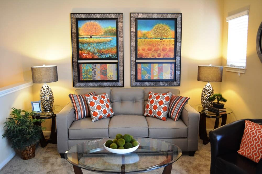 Model living room at The Abbey at Stone Oak in San Antonio