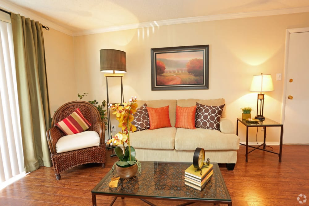 Beautiful living room at The Abbey at Regent's Walk in Homewood, AL