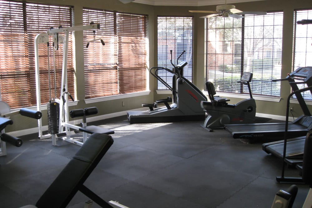 Luxury fitness center at The Abbey at Hightower in North Richland Hills, TX