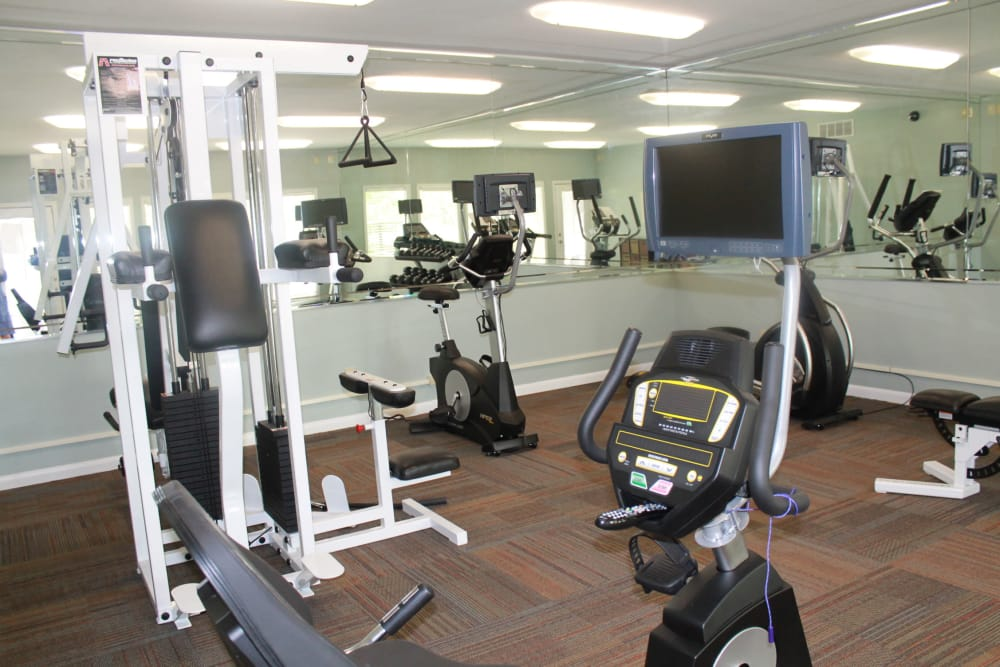 Fitness center at The Abbey at Riverchase in Vestavia Hills