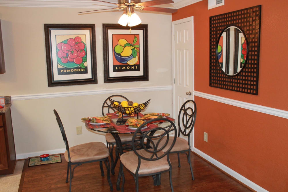 Dining room at The Abbey at Riverchase apartments in Hoover, AL