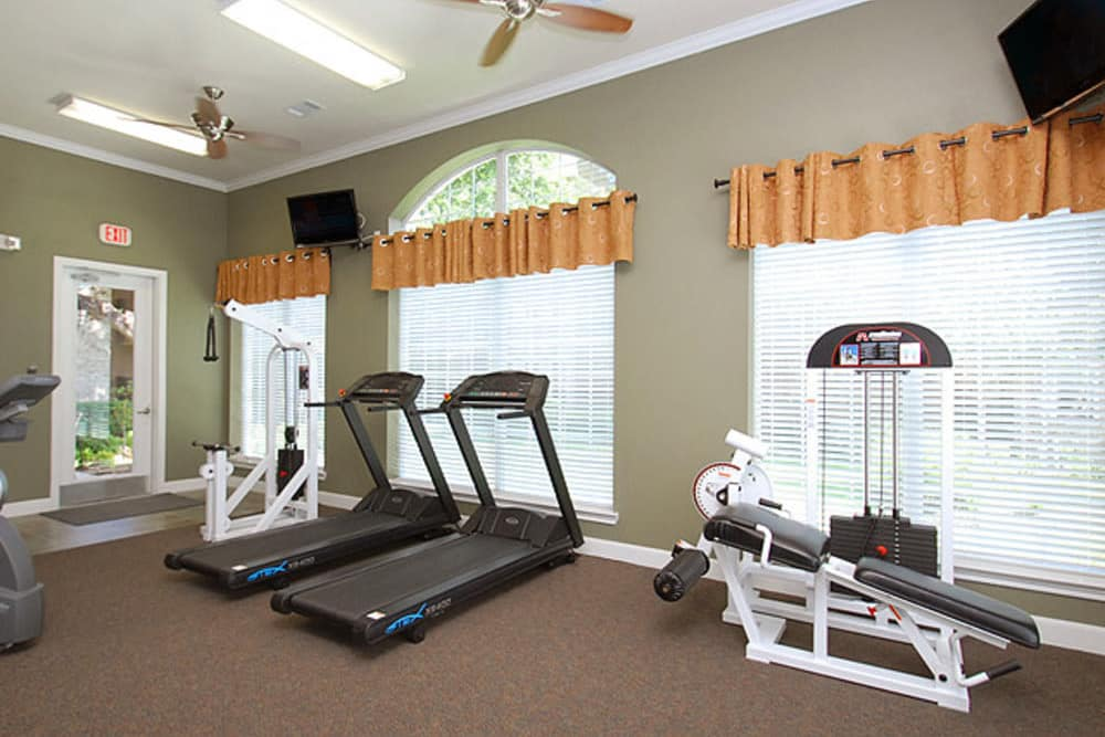 Unique fitness center at The Abbey at Eldridge in Houston, TX