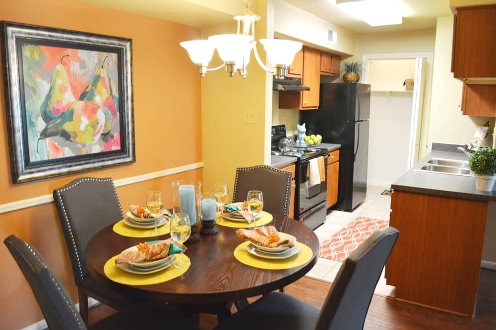The dining room inside apartments in Houston