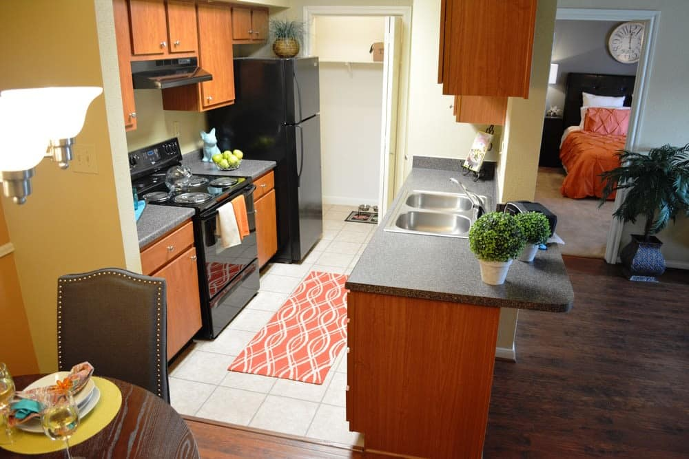 The Abbey at Eldridge offers a great for entertaining kitchen in Houston, TX